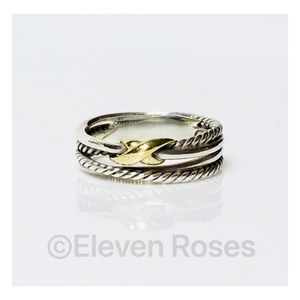 David Yurman Sterling 18k X Cable Crossover Ring